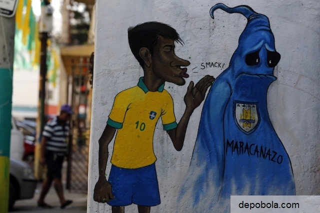 grafitti neymar di kota rio de janiero jelang piala dunia brasil 2014